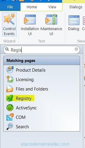 Open registry section in advaced installer