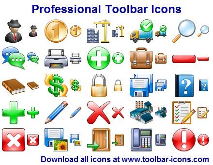 Computer toolbar icons