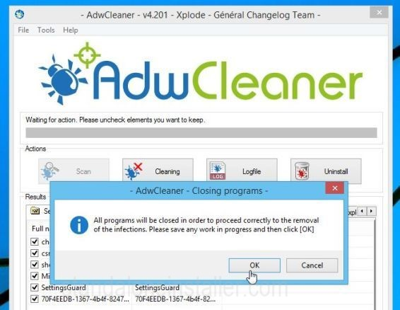AdwCleaner Removing