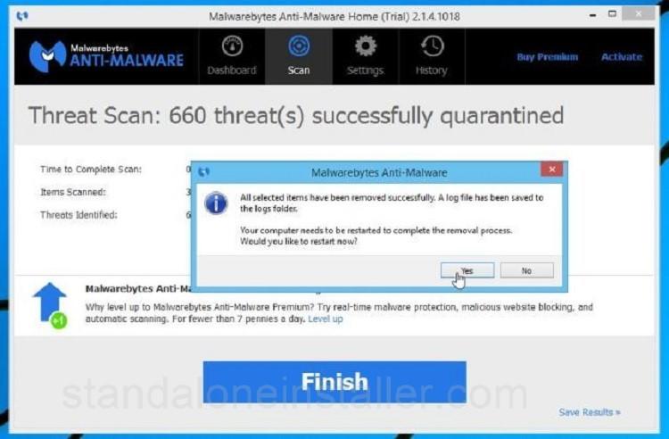 Malwarebyte scan finish