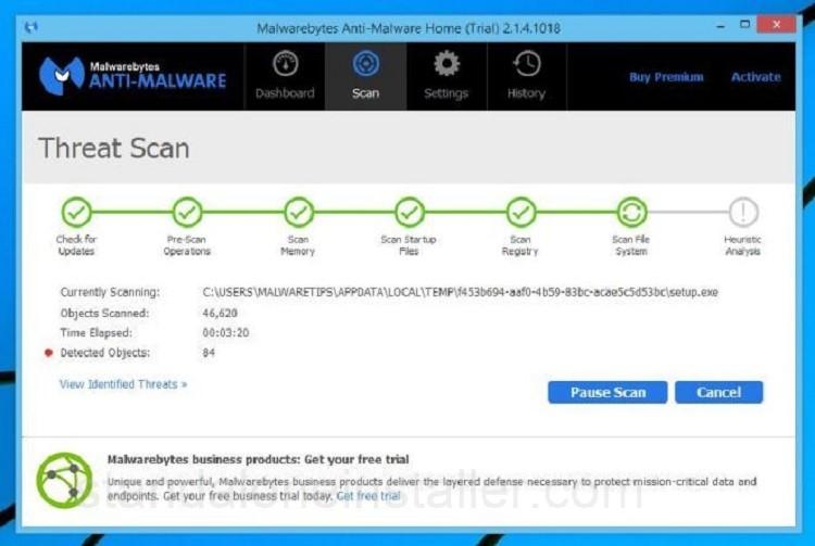 Malwarebytes scanning