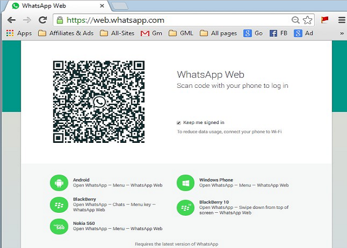WhatsApp in a Web Browser