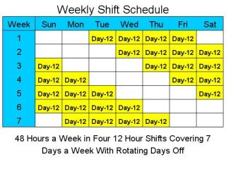 Download 12 Hour Schedules for 7 Days a Week