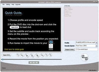 1st cucusoft dvd to ipod converter