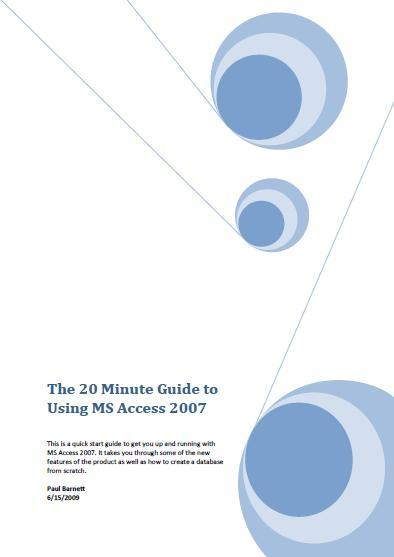 Download 20 Minute Guide To Using MS Access