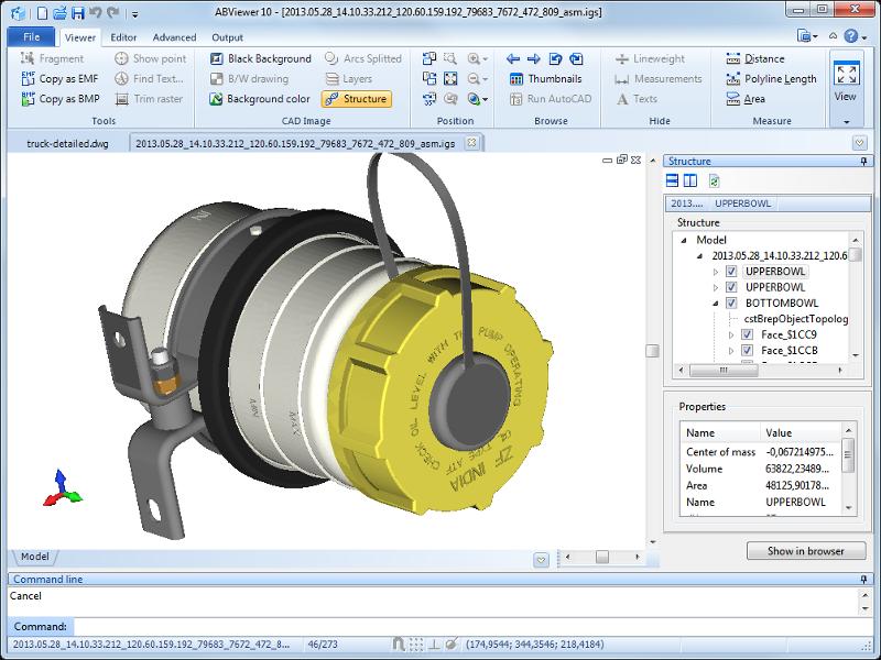 2D/3D cad: dwg, dxf, plt, cgm, svg, pdf
