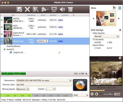Download 4Media DVD Creator for Mac