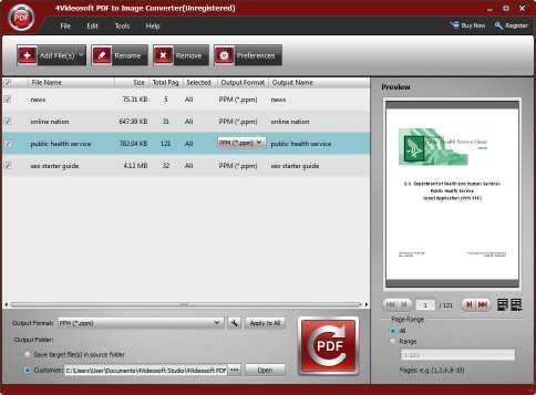 4Videosoft PDF to Image Converter