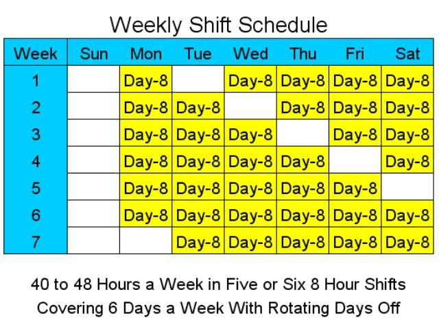 Download 8 Hour Shift Schedules For 6 Days A Week