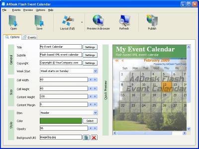 Download A4Desk Flash Event Calendar