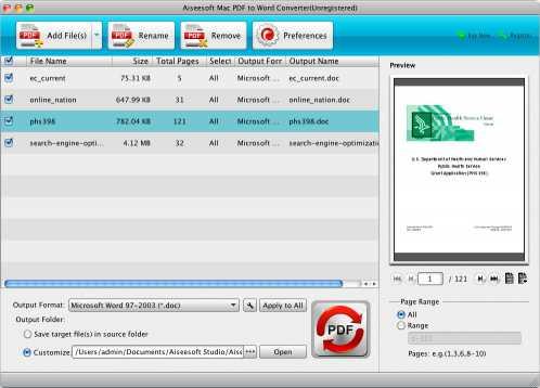 Aiseesoft Mac PDF to Word Converter