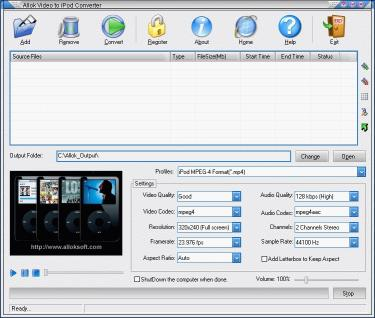 Download Allok Video to iPod Converter
