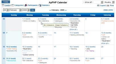 Download ApPHP Calendar - PHP Calendar Script