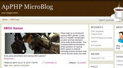 Download ApPHP MicroBlog - web blog PHP script