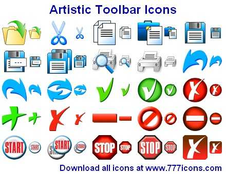 Download Artistic Toolbar Icons