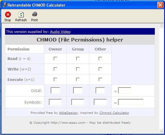 Audio Video CHMod Calculator