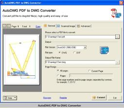 Download AutoDWG PDF to DWG Converter 2010