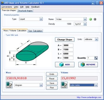 AVD Mass and Volume Calculator - standaloneinstaller com