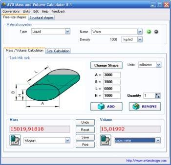 Download AVD Mass and Volume Calculator