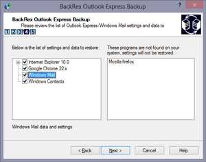 Download BackRex Outlook Express Backup