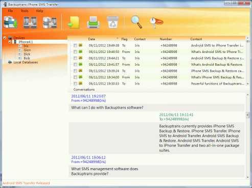 Backuptrans iPhone SMS Transfer