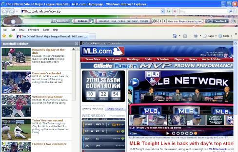 Download Baseball IE Browser Theme