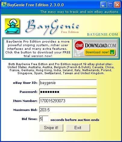 Download BayGenie eBay Auction Sniper Free