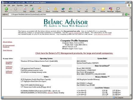 Belarc Advisor - standaloneinstaller com