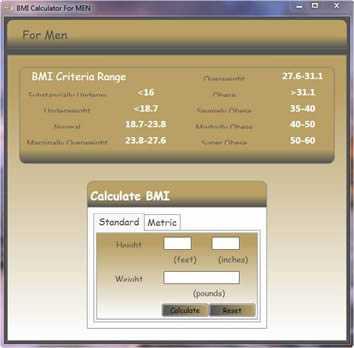 BMI Calculator for Men