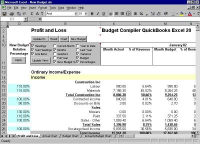 Download Budget Compiler QuickBooks Excel