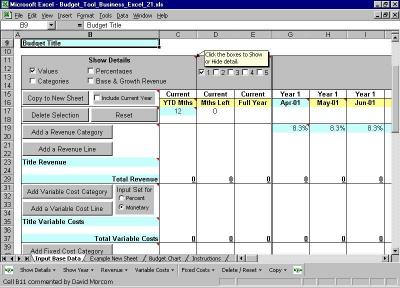 Download Budget Tool Business Excel