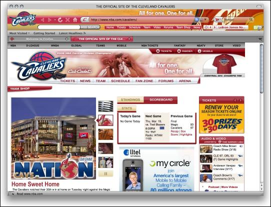 Download Cleveland Cavaliers Firefox Theme