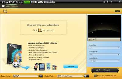 CloneDVD Free AVI to WMV Converter