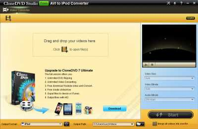 CloneDVD Studio Free AVI to iPod Convert