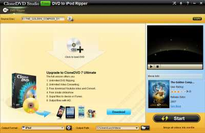 CloneDVD Studio Free DVD to iPod Ripper