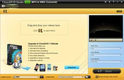 CloneDVD Studio Free MP4 to WMV Converter