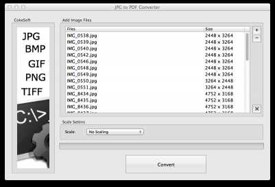 CokeSoft JPG to PDF Converter for Mac