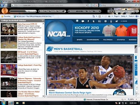 Download College Basketball IE Browser Theme