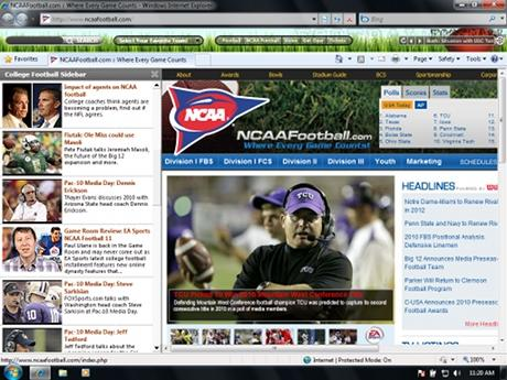 Download College Football IE Browser Theme