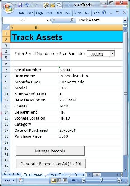 Download ConnectCode Asset Tracking Spreadsheet