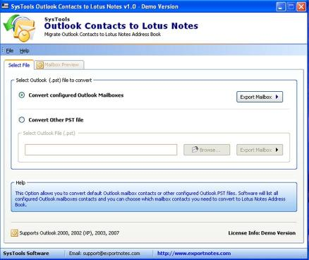 Download Convert Outlook Contacts to Lotus Notes