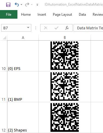 Data Matrix Excel Barcode Generator