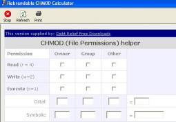 Download Debt Relief CHMOD Calculator