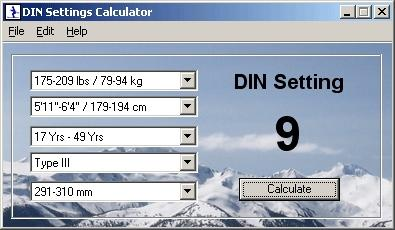 Download DIN Settings Calculator