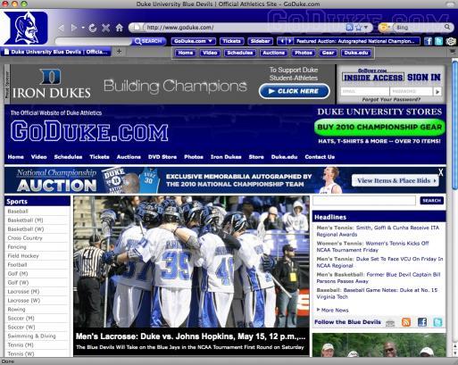 Download Duke Athletics IE Theme