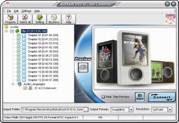 Download dvdXsoft DVD to Zune Converter