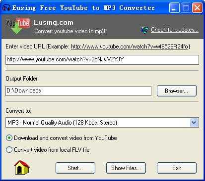 Eusing Free YouTube to MP3 Converter