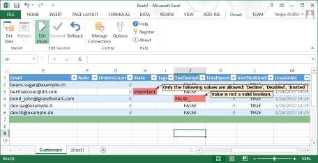 Excel Add-in for Shopify