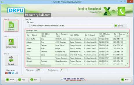 Excel to Phonebook Converter