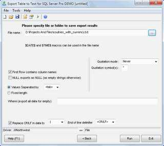 Download Export Table to Text for SQL Server